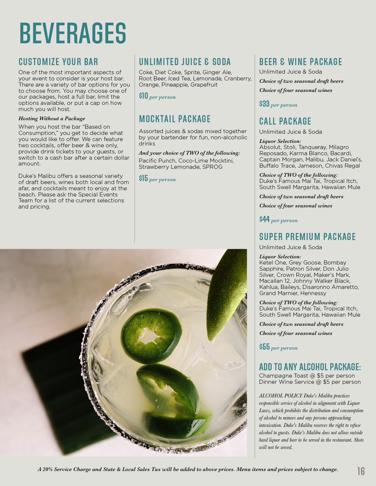 Beverage menu for banquets