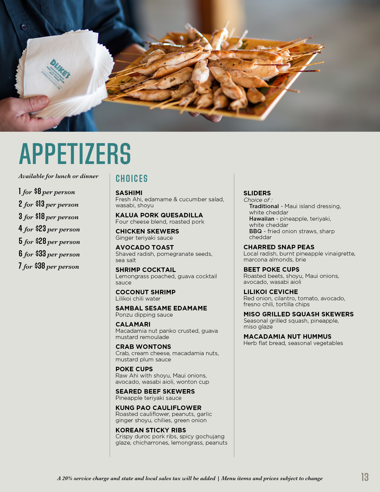 Appetizer menu with chicken skewers