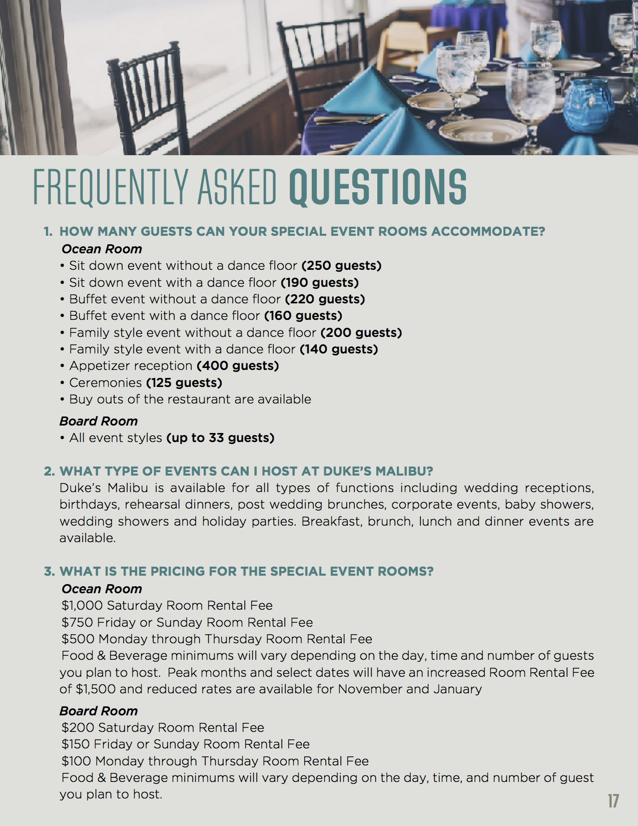 Banquet Packet FAQs