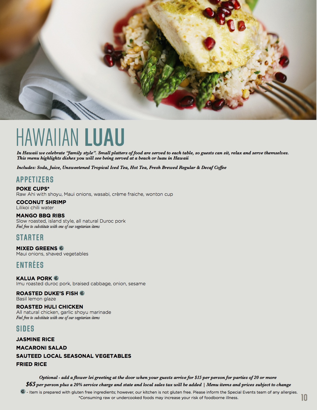 Banquet Packet Dinner Hawaiian Luau Menu