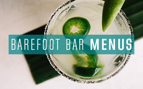 Barefoot bar menus with a beverage