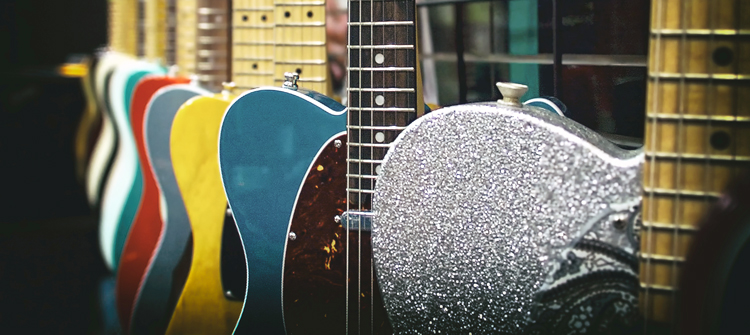 Guitars lined up