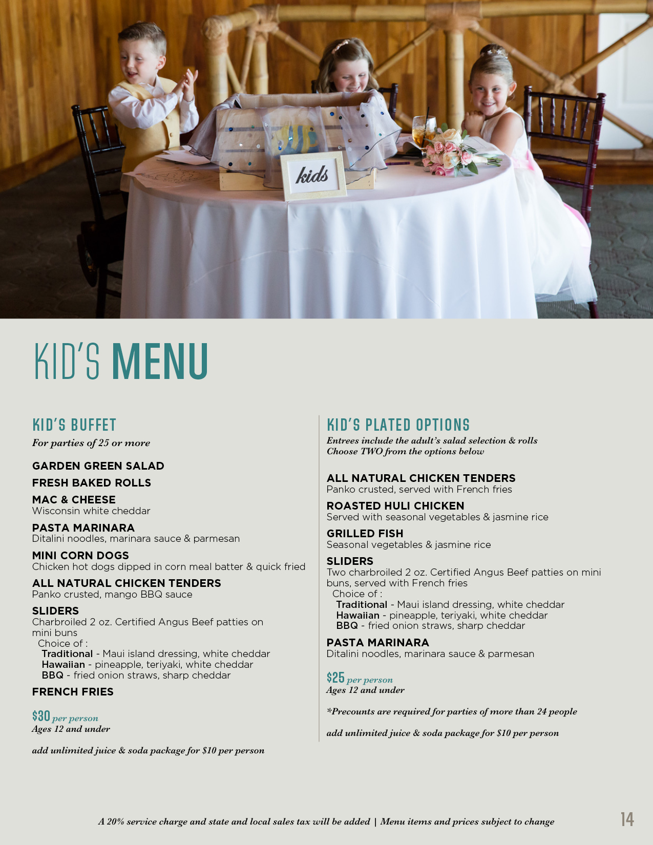 Kids menu for events