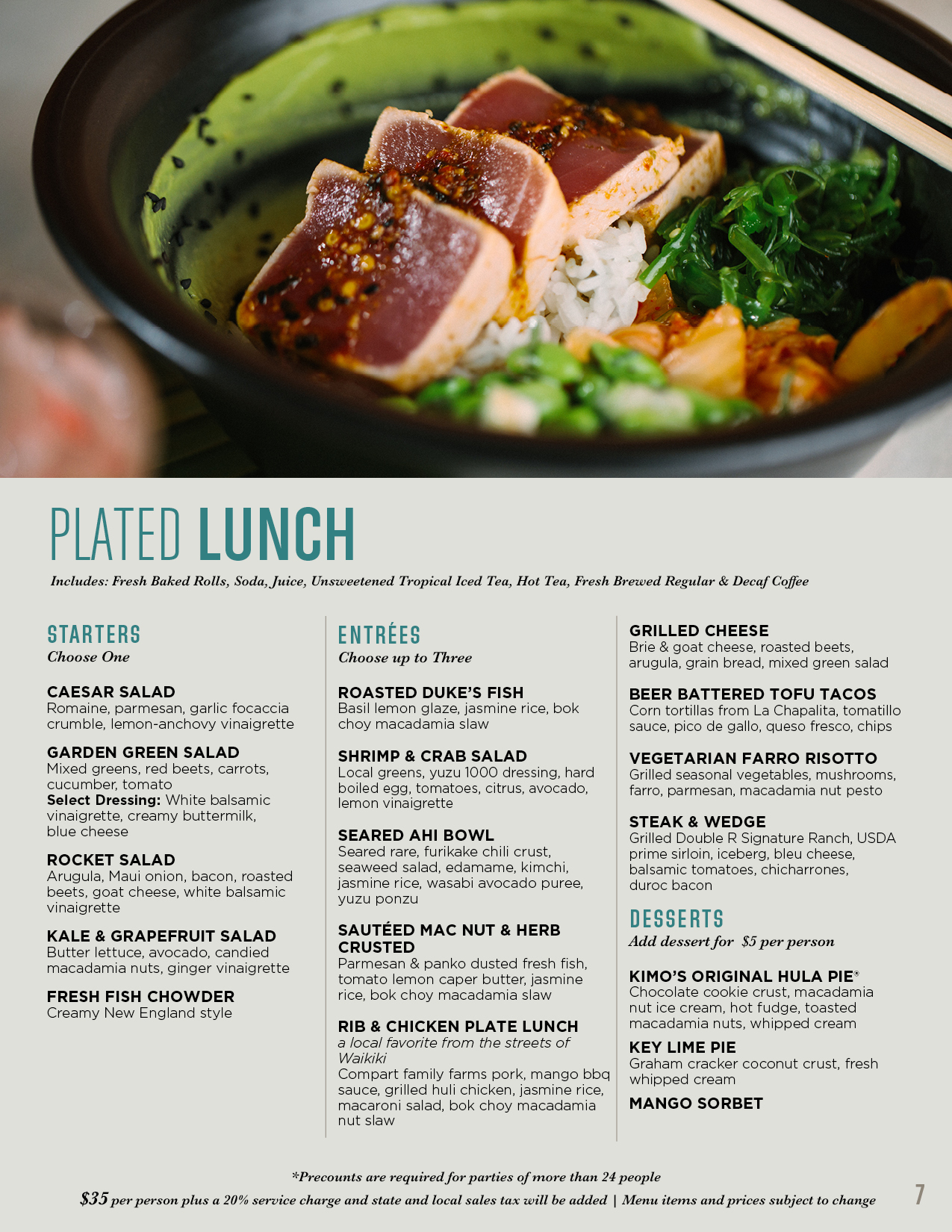 Plated lunch menu
